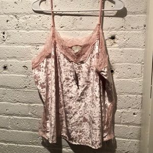 Velour cami with lace trim